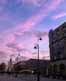 Evening in the old town. Purple sunset in the old town in Warsaw Stock Photography