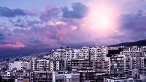 Purple sunset over city Royalty Free Stock Photo