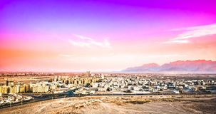 Purple sunset over cityscape of Yazd in Iran royalty free stock images