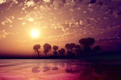 Purple sunset over island Royalty Free Stock Photo