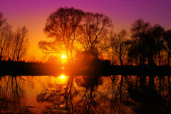 Purple sunset over lake Royalty Free Stock Photo