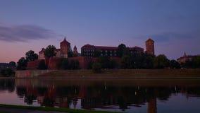 Sunset above the Vistula river and Wawel Castle, Krakow, Poland stock footage