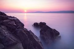 Purple sunset over sea Royalty Free Stock Images