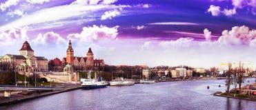 Purple sunset over Szczecin (Stettin) City, Poland Royalty Free Stock Image
