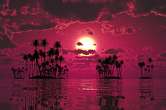 Purple sunset over tropic sea Stock Image