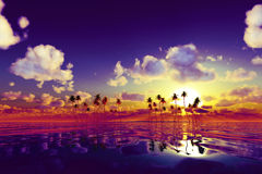 Purple sunset over tropic sea Royalty Free Stock Image