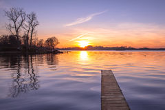 Purple Sunset over Wooden Jetty in Groningen, Netherlands Royalty Free Stock Photos