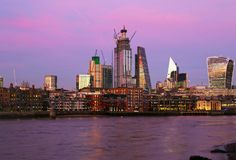 Sunset scenery of Thames river and modern London buildings United Kingdom royalty free stock photo
