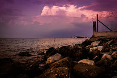 Purple Sunset Seashore Environment Royalty Free Stock Image