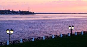 Purple sunset on the Volga Royalty Free Stock Photos