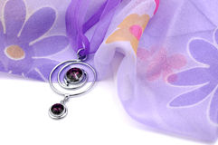 Purple Swarovski Crystal and Floral Scarf Royalty Free Stock Image