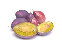 Purple Sweet Plums Isolated on White Background Stock Photography