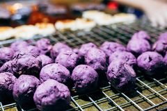 Purple sweet potato hot grilled stock images