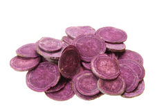Purple sweet potato. Pieces of fresh purple sweet potato isolated on white background Stock Photo
