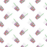 Purple sweet water with slices of watermelon. Seamless pattern. Stock Photo