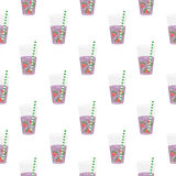 Purple sweet water with slices of watermelon. Seamless pattern. Stock Photography