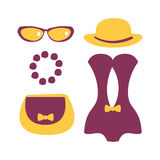 Purple swimsuit with beach accessories. Colorful cartoon Illustration Stock Photo