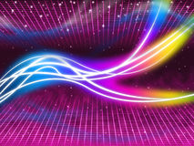 Purple Swirls Background Shows Colorful Flourescent And Stars Royalty Free Stock Image