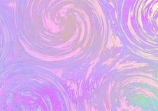 Purple swirls on a bright pink-green background stock illustration
