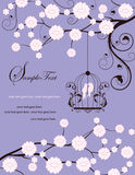 Purple swirly invitation card with cage Stock Image
