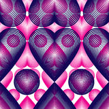 Purple symmetric seamless pattern with overlapping decorative he Stock Photo