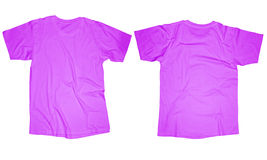 Purple T-Shirt Template. Wrinkled blank purple t-shirt template, front and back design isolated on white Stock Photo