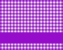 Purple tablecloth pattern. Purple checkered tablecloth background with violet stripe for text royalty free illustration