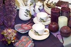 Purple tableware. Lavender tableware decor collection in purple ton Royalty Free Stock Photo