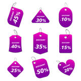 Purple tags - discount. 100% vectors - colored labels, tags Vector Illustration