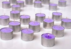 Purple tea candles Royalty Free Stock Photo
