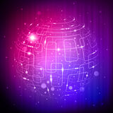 Purple tech sphere. Abstract purple tech sphere background with light effect Royalty Free Stock Photos