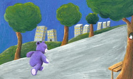 Purple teddy bear walking in the park Royalty Free Stock Image