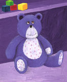 Purple teddy sitting on the shelf Stock Photography