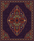 Purple template for carpet. Oriental abstract ornament. Purple template for carpet, coverlet, shawl, textile and any surface. Ornamental colorful pattern with Royalty Free Stock Images