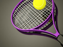 Purple tennis racket rendered. With ball Royalty Free Stock Photo