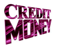 Purple text of credit money on a white background. 3d illustration. Purple text of credit money on a white background Stock Image