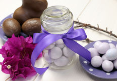 Purple theme Easter dinner, breakfast or brunch table setting, close-up. Royalty Free Stock Image