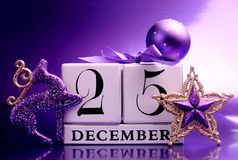 Purple theme Save the Date calendar for Christmas Day, December 25. Stock Photography