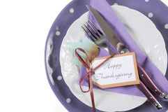 Purple theme Thanksgiving place setting - closeup. Royalty Free Stock Photo