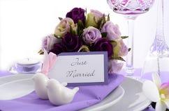 Purple Theme Wedding Table Place Setting. Royalty Free Stock Image