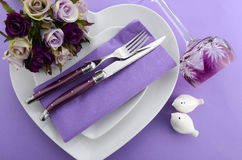 Purple Theme Wedding Table Place Setting. Stock Photos