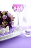 Purple theme wedding table place setting. Royalty Free Stock Photography
