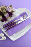 Purple theme wedding table place setting. Stock Photography