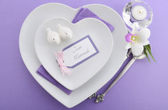 Purple theme wedding table place setting. Royalty Free Stock Photo