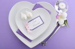 Purple theme wedding table place setting. Royalty Free Stock Photo