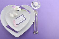 Purple theme wedding table place setting. Royalty Free Stock Image