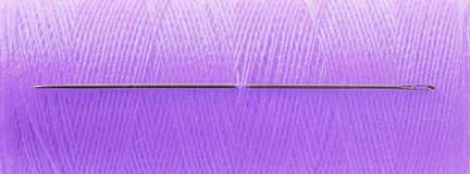 Purple threat with needle. Full frame, focus on needle stock photos