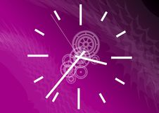 Purple time. White clock on the purple background Stock Photography