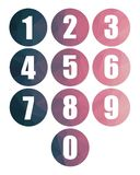 Numbers modern purple pink web icons isolated numerical vectors stock illustration