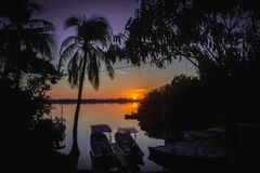 Purple dusk at mangroove Lagoon. royalty free stock images